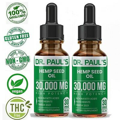 2 Pack Hemp Oil Drops For Pain Relief Stress  Anxiety Sleep - 30000 mg