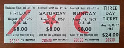 WOODSTOCK 1969 FULL TICKET 3 Day MINT- one ticket  100 GUARANTEED ORIGINAL