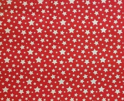 EMMA - MILA white stars COTTON QUILTING FABRIC bty PATRIOTIC 4th of July RED new