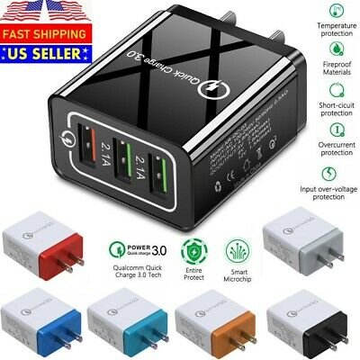 3 Port USB Home Wall Fast Charger QC 3-0 for Cell Phone iPhone Samsung Android