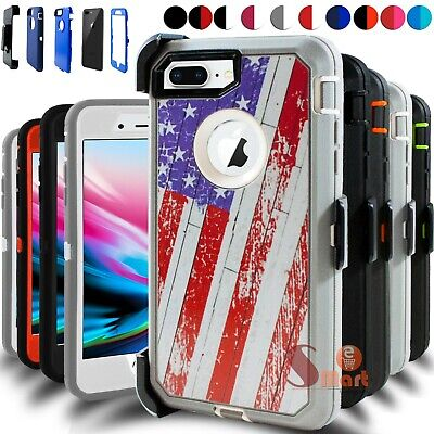For iPhone 6 6s 7 8 Plus Defender Hard Rugged Shockproof Case Cover W Belt Clip