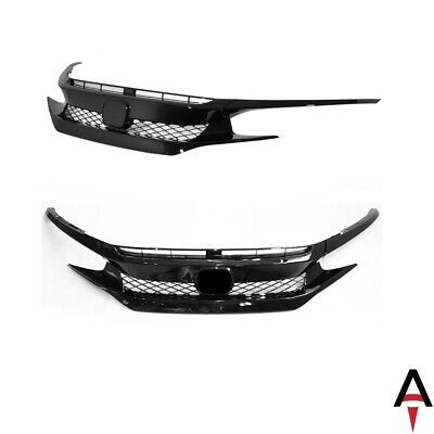 Type-R Style Front Bumper Set w Glossy Black Grille for 16-18 Civic Coupe Sedan