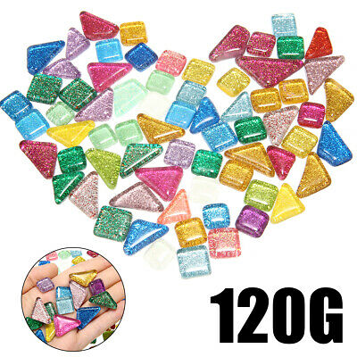 70x 120g Colorful Glitter Shiny Glass Mosaic Tiles Bulk For Art Hand Craft US