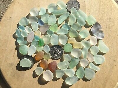 69 Surf Tumbled Seaglass Gems SeafoamLight Green Pale Yellow Whites 4 UV