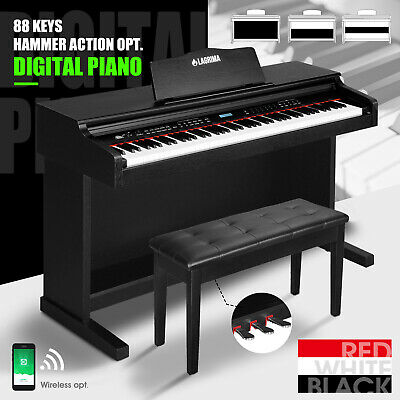 88 Key Electronic Keyboard Digital Piano LCD GeneralHammer Action W Pedal Seat
