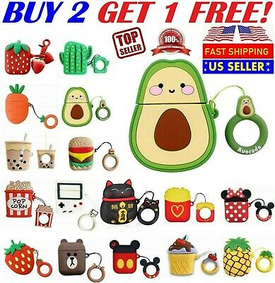 Cute 3D Cartoon Silicone Case Cover For Airpod AirPods 1 - 2 Airpods Pro Case US