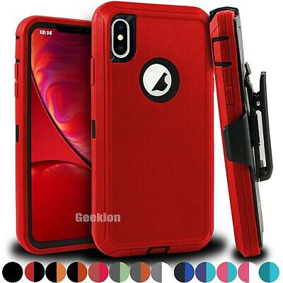 For Apple iPhone X XS MAX XR Shockproof Rugged Defender Case Cover w Belt Clip
