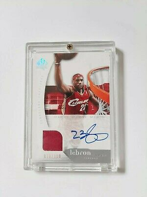 LEBRON JAMES 2005 SP AUTHENTIC GAME- USED WARM-UP ON CARD AUTOGRAPH 070100