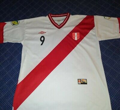 Peruvian Football Federation 2014 Guerrero World Cup Jersey Size L