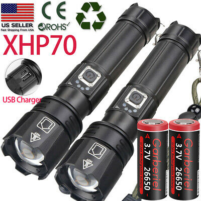 Tactical XHP70 Flashlight Super Bright LED USB1865026650 Rechargeable Zoomable
