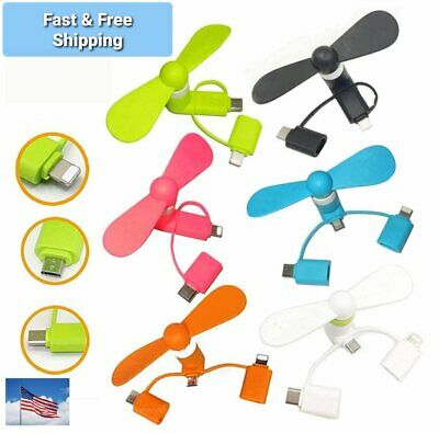 3 in 1 Type C Fan Portable Mobile Phone USB Mini Fan for Android phones - iphone