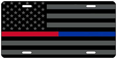 Thin Red Blue Line Flag License Plate Aluminum Auto Car Truck Tag Fire Police