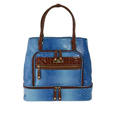 Samantha Brown Ombre Croco Embossed Drop Bottom Tote LAST ONE BLUE NEW
