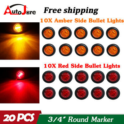 20X 34 12V Marker Lights LED Truck Trailer Round Side Bullet Light Amber Red