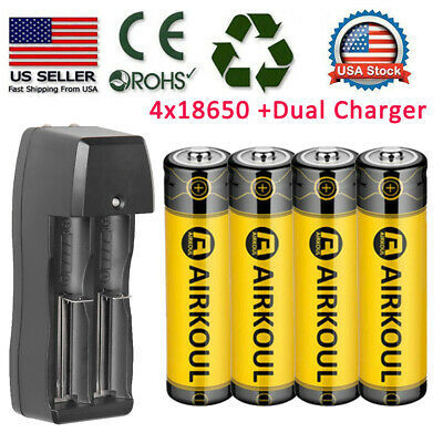 4X BRC 18650 Battery Li-ion 3-7V Rechargeable Batteries -Dual Charger for Torch