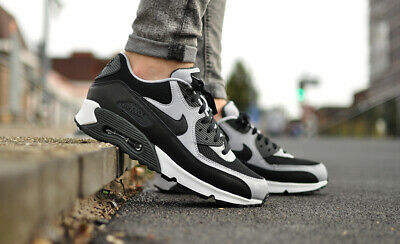 Nike Air Max 90 Essential Black Wolf Grey 537384-053 Running Shoes Mens NEW