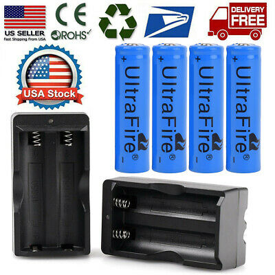4pc BRC 18650 Battery Li-ion 3-7V Rechargeable Batteries -Dual Charger for Torch