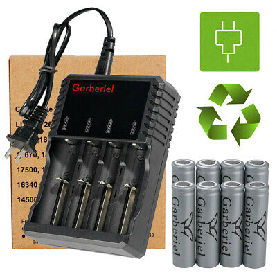 8PC Garberiel Flat Top 18650 Battery Rechargeable 3-7 Li-ion Batteries for Torch