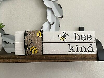 Stamped Books • Farmhouse Decor • Bee Kind • Tiered Tray Display