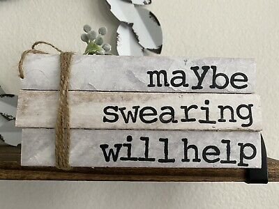 Stamped Books • Farmhouse decor • Rae Dunn Inspired• Maybe Swearing Will Help