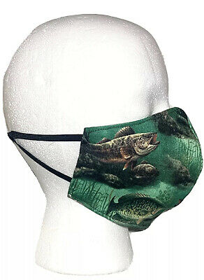 Green FISHING Theme Design Face Mask Cotton MADE In USA Adjustable Nose