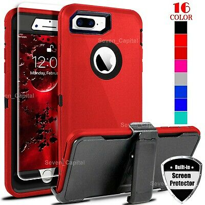For iPhone 6 7 8 Plus Shockproof Defender Case w Belt Clip - Screen Protector