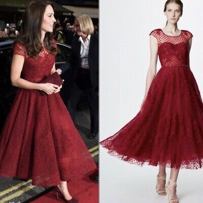NWT marchesa notte kate middleton dress red B1 Size 6 Honeycomb Embroidered