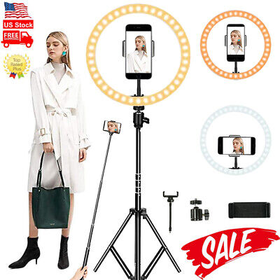 10Led Ring Light with Stand Phone Holder Kit Video Photo Makeup Selfie Studio