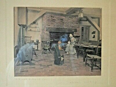 Wallace Nutting 1910 Hand Colored Photo A HEARTH TO FIGHT FOR  FRAMED 17X15