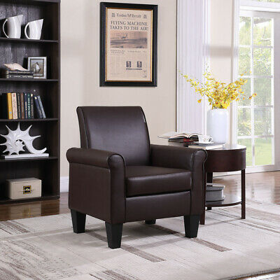 Brown Modern Accent Arm Chair PU Leather Single Sofa Seat Leisure Living Room