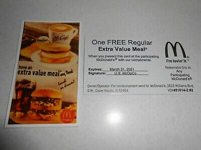 Lot of 30 mcdonalds free value meal cards