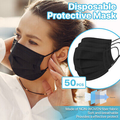 50 PCS 3-Ply Disposable Face Mask Non Medical Surgical Earloop Mouth Cover