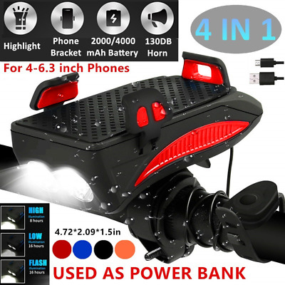 4IN1 USB Rechargeable Bike Light LED Headlamp w Bell Horn Bicycle Phone Holder