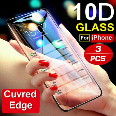 3 pcs 10D Full Screen Protector Tempered Glass For iPhone X XS XR 11 12 Pro Max