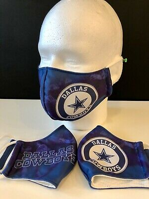 3 Layers Washable Dallas Cowboys Face Mask w Fabric Filter-