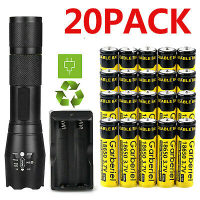 T6 LED Flashlight - 18650 Battery Li-ion 3-7V Rechargeable Batteries -Charger US
