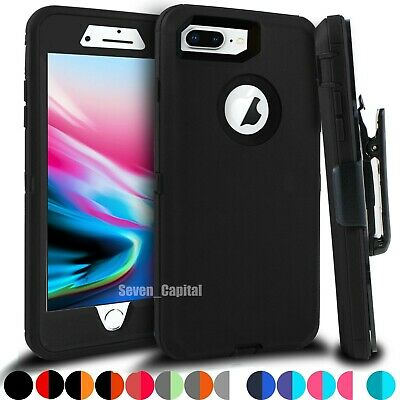 For iPhone 6 7 8 Plus Shockproof Defender Case with Belt Clip - Screen Protector