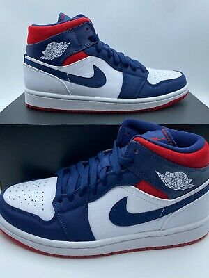 Nike Air Jordan 1 Mid SE USA Olympic White Navy Blue Red 852542-104 Mens NEW