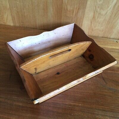 Primitive Antique Wood Pine Tool  Silverware Caddy Tote Tray 11-5 x 10 x 3