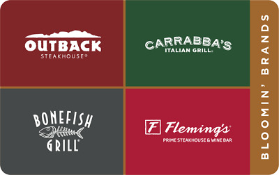 25 Outback Carrabbas Bonefish Grill Flemings gift certificates