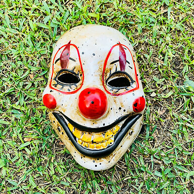 Halloween Scary Clown Face Mask Hand Painted Joker Horror Costume w Open Mouth