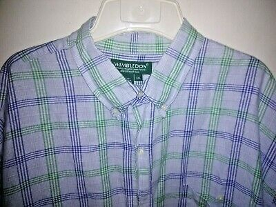 Wimbledon Tennis All England Country Club Mens Button Down Shirt XXL Linen