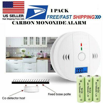LCD Combination CO Carbon Monoxide Gas Detector Alarm Battery Operated -Battery
