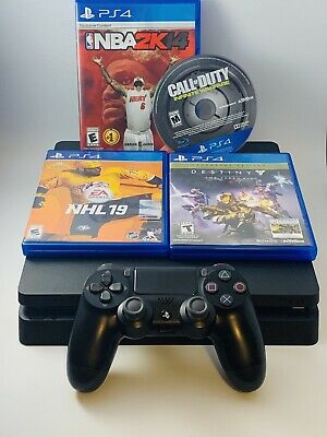 Sony Playstation 4 PS4 Slim 500GB Console Bundle w Controller and 4 Games