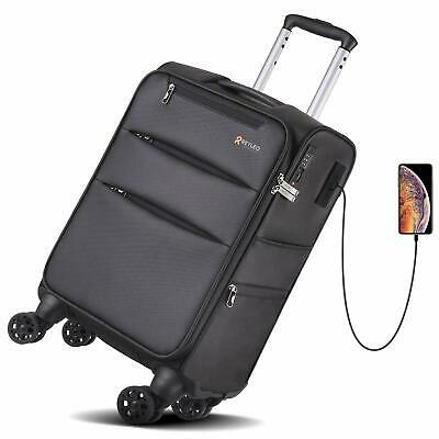 REYLEO Softside Spinner Luggage 20 Inch Carry On Luggage 8-Wheel Travel Suitcase
