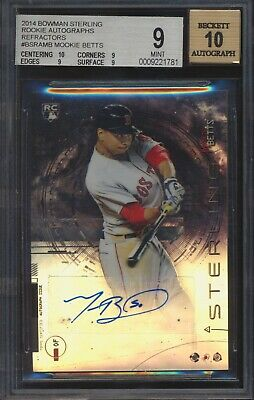 2014 Bowman Sterling Prospect Mookie Betts Refractor RC AUTO D 18150 BGS 910
