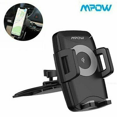 Qi Wireless Car Charger Mount Clamping CD slot Phone Holder Auto Fast Charging