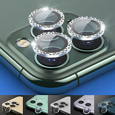 For iPhone 11 12 Pro Max Metal Ring Tempered Glass Camera Lens Screen Protector