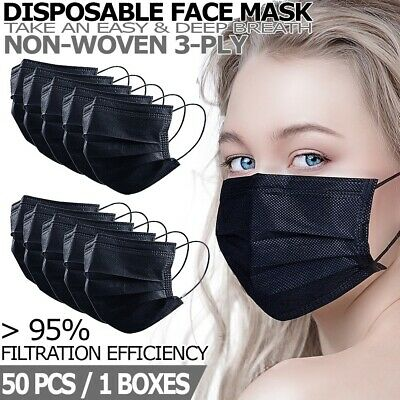 50 PCS Black Disposable Face Mask Non Medical 3-Ply Earloop Dust Cover Masks