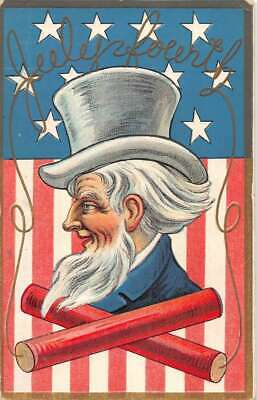 Fourth of July Uncle Sam and American Flag vintage postcard DD11391